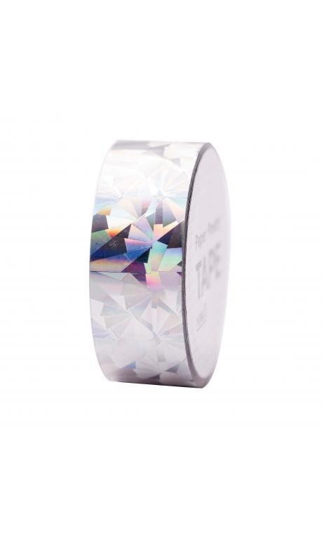 Cinta adhesiva holográfica, cristal plateado 19 mm/10 m