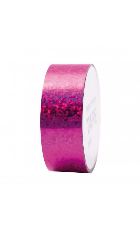 Cinta adhesiva holográfica, topos fucsia 19 mm/10 m