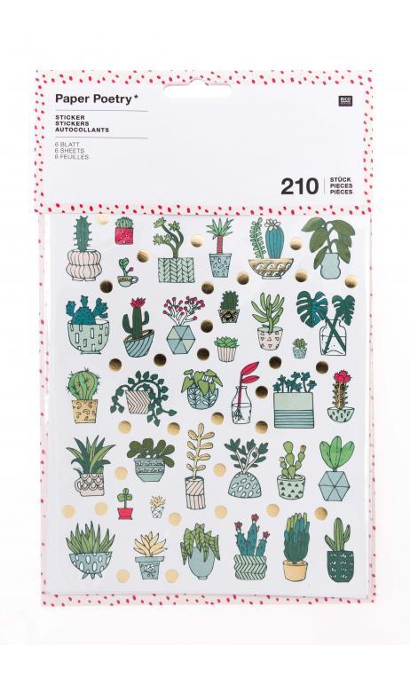 Stickers hygge,surtido de plantas 6 hojas