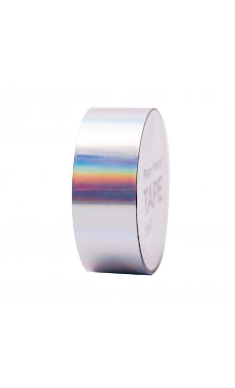 Cinta adhesiva holográfica, plata iridiscente 19 mm/10 m