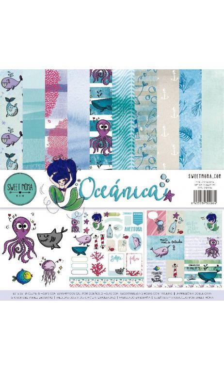 Set 12 papeles doble cara - Oceánica
