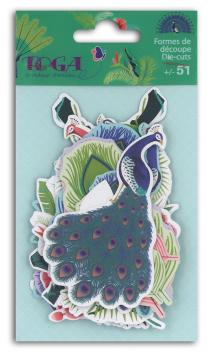 Surtido. 60 Die-cuts pavo real