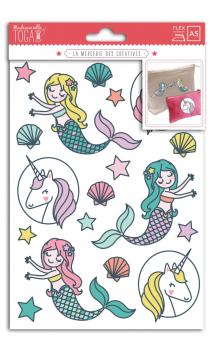 Transferible termico Surtido. color- a5- unicorn and mermaid