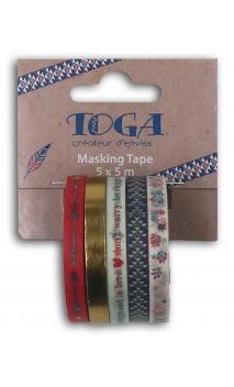 Mini masking tape x5 bujo 5x5m my mi vida diaria