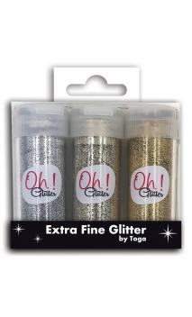 Surtido.3 extra fine glitter silver oro