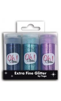 Assorted.3 extra fine glitter purple blue