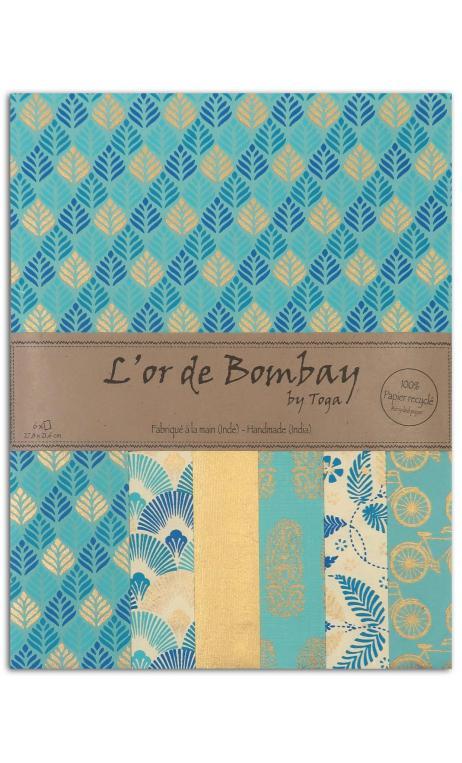 L'or de bombay 6f.Surtido.27,8x21,6cm-azur azul