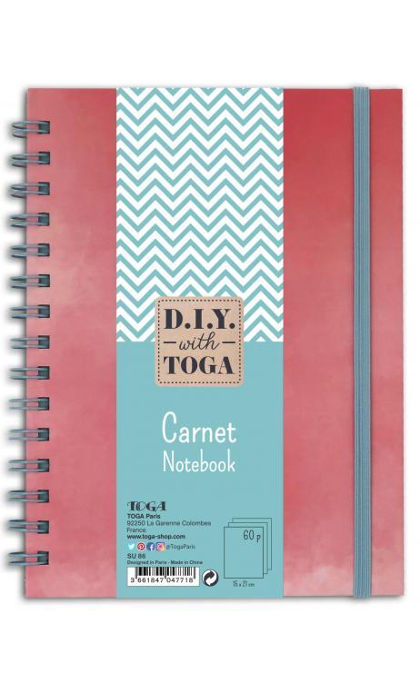 Notebook bicolor coral/gris pastel. 15x21 cm bind 60p