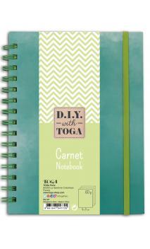 Notebook bicolor verde pastel. 15x21 cm binder 60p