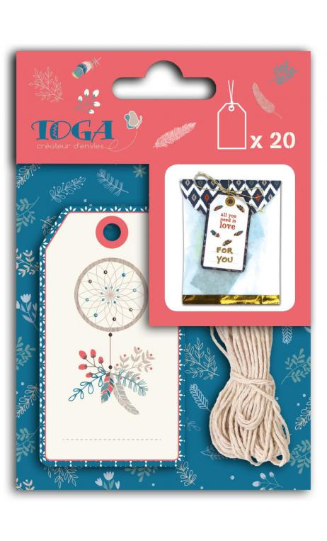 Surtido 20 tags hygge oro + 5m baker's twine