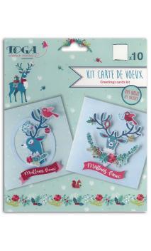 Surtido 10 cartes renos de Navidad 13x13