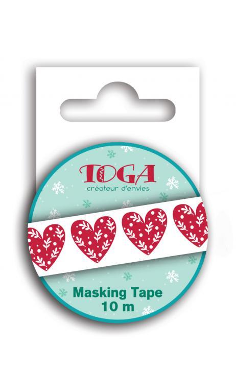 Masking tape corazones rojos -10m