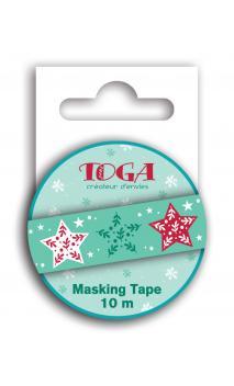 Masking tape estrellas verdes et rojos -10m