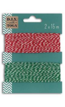 Surtido 2 cordeles bicolore5 15m rojo y verde