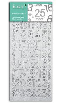 1 Hojas de stickers cifras 1 a 25 glitter plata