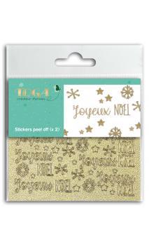 2 Hojas de stickers 8x9 peel off  Joyeux Noel glitter or