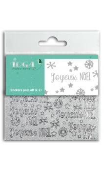 2 Hojas de stickers 8x9 peel off Joyeux Noel glitter plata