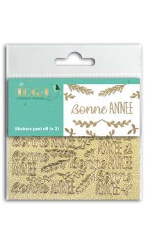 2 Hojas de stickers 8x9 peel off Bonne Annee glitter oro