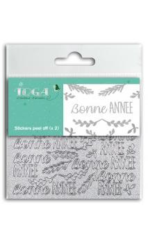 2 Hojas de stickers 8x9 peel off  Bonne Annee glitter plata