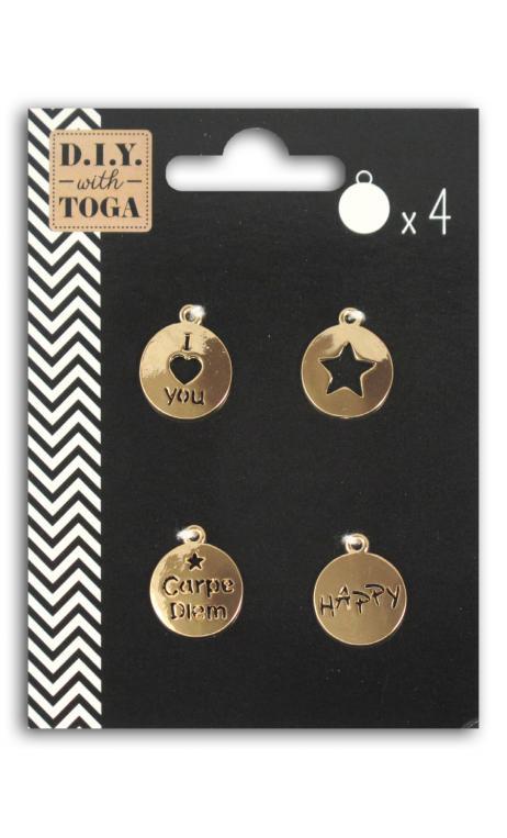 Conjunto 4 Medallas perforadas col. Oro