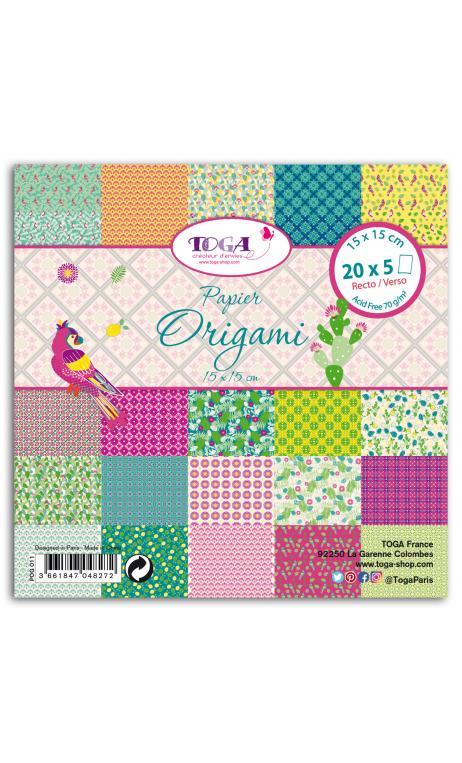 100 Papeles origami  15x15 Hacienda