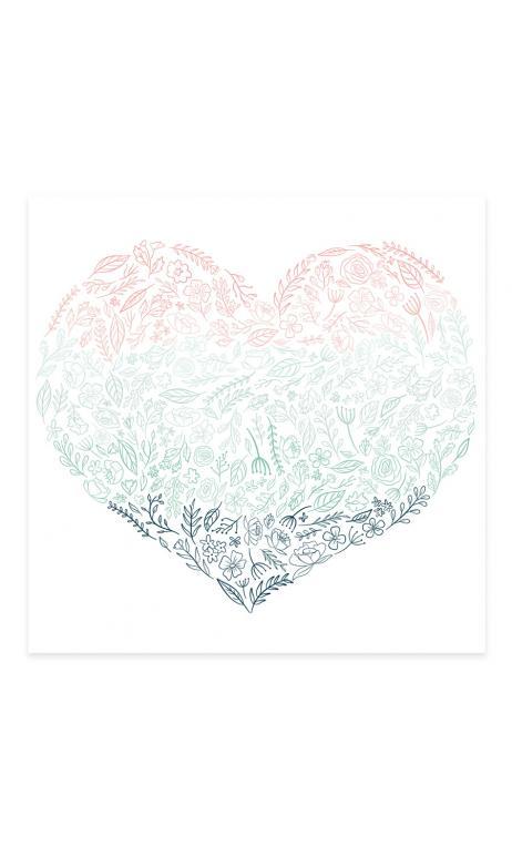 Acetato Corazón de flores Bonita