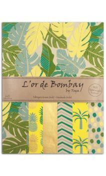 L'Oro de Bombay-6 hojasSurtido27,8x21,6cm - amarillo/vert/Oro