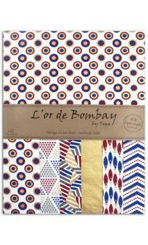 L'Oro de Bombay-6 hojasSurtido27,8x21,6cm - azul/blanco/rojo