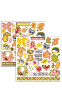 2 Hojas stickers 15x15cm Foxy