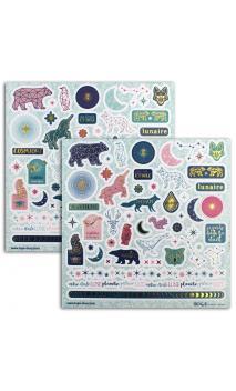 2 Hojas stickers 15x15cm Estrellas