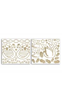 2 Hojas stickers peel off Relieve Cisne