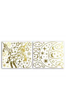 2 Hojas stickers peel off Relieve Estrellas Unicornio