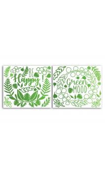 2 Hojas stickers peel off Relieve Hojas