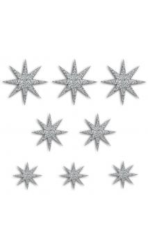 8  Formas troqueladas Bombay Estrellas Plata glitter