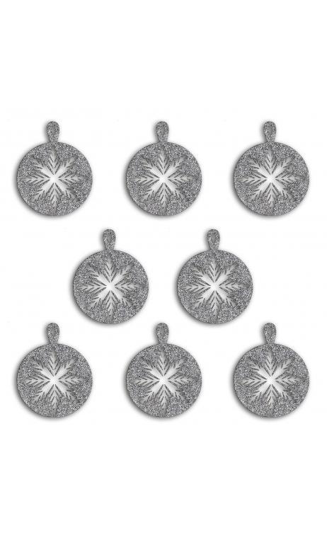 8  Formas troqueladas Bombay Bola Plata glitter