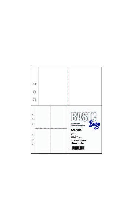 FUNDA PLASTICO A5 4 BOLSAS 174*210mm 10 u.