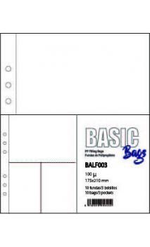 FUNDA PLASTICO A5 3 BOLSAS 174*210mm 10 u.