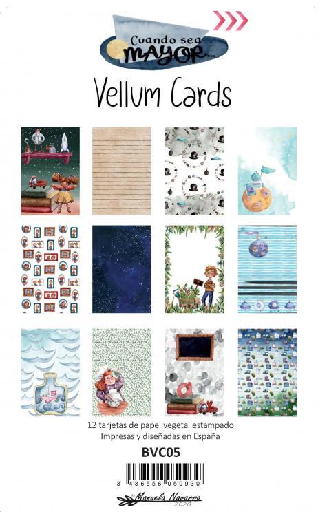 """Vellum cards """"Cuando Sea Mayor"""""""" - 12 tarjetas 10x15 impresas en papel vegetal"""