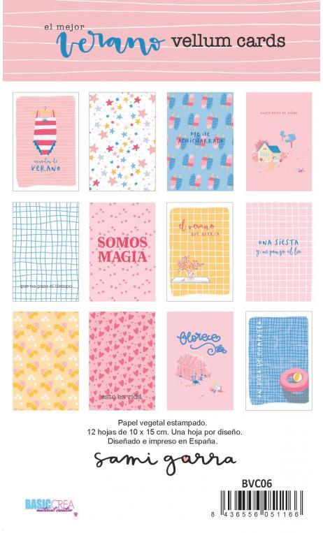 Vellum Cards EL MEJOR VERANO 12 tarjetas en papel vegetal 10x15 cm
