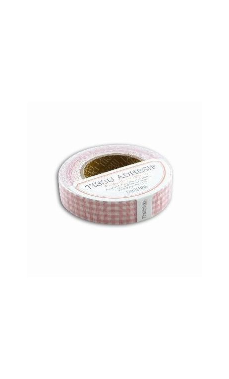 tela adhesiva cinta 5m - vichy rosa