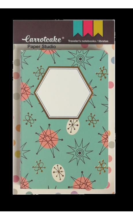 Retro Set 2 Cuadernos Cosidos Liso y Punteado 60 páginas 90x140mm