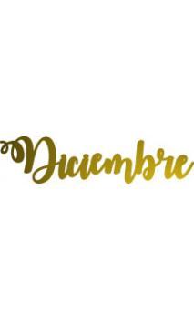 "Palabra ""Diciembre"" de metacrilato adhesivo Color Dorado  2x8 cm"