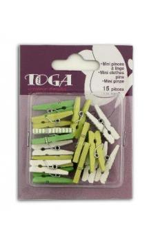 Conjunto 15 mini pinzas a linge verde primavera