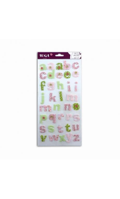 stickers Alfabeto tela rosa/verde