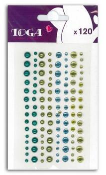 120 Strass y perlas  azul & verde