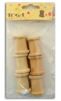6 mini bobinas en madera