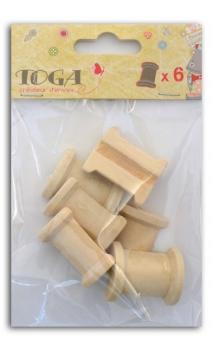 6  medias bobinas en madera