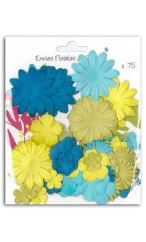 Surtido de 75 flores mix azul-verde