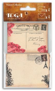 Surtido 4 Sobres y 4 tarjetas Vintage