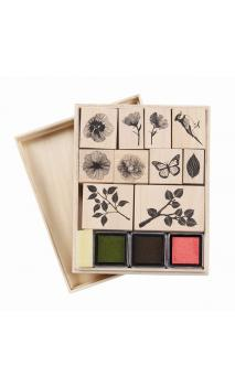 Nature wooden stamp set-Sello de caucho con empuñadura de madera